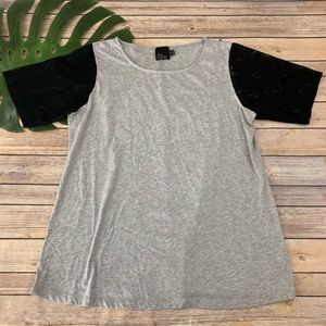 ASOS Curve gray and black lace sleeve tee